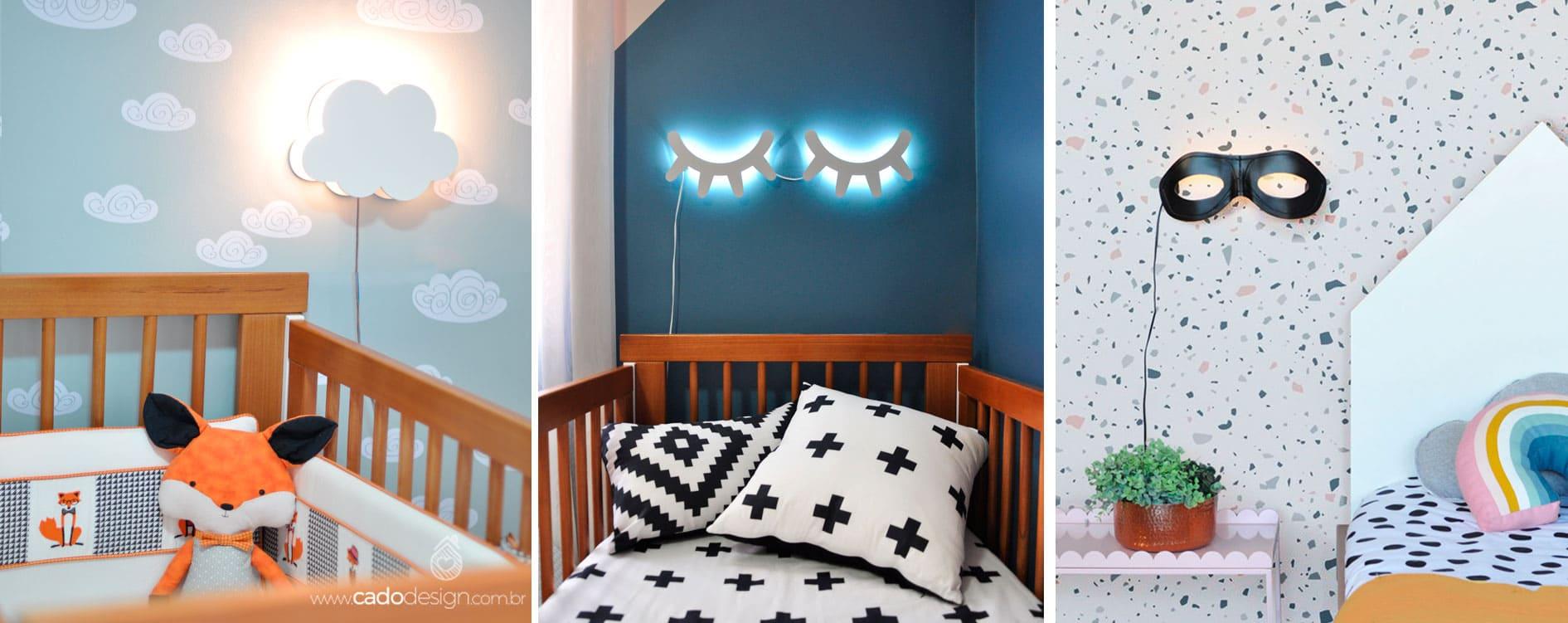Imagem ilustrativa de ambientes decorados com produtos da Cadô Design, como a luminária Nuvem e cílios.