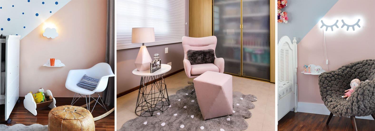 Imagens ilustrativas de ambientes em tons rosas, com poltrona e abajur cílios