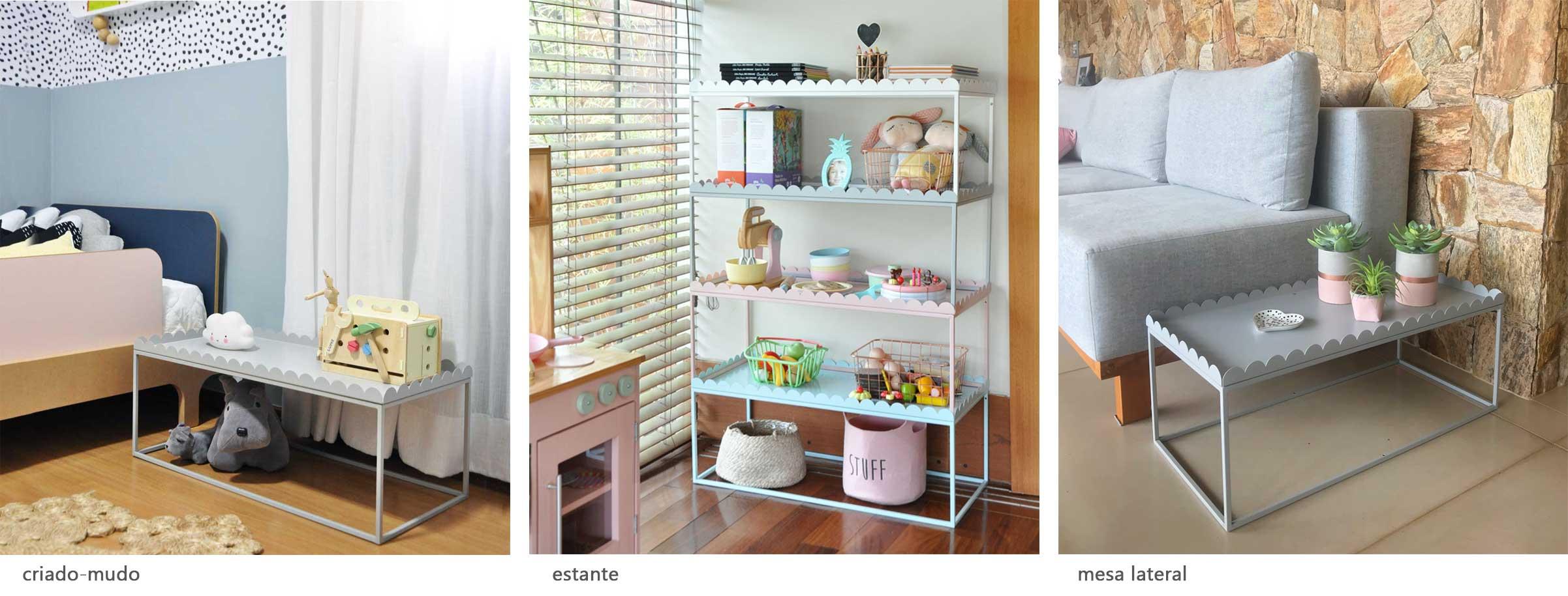 Três imagens ilustrativas: um criado-mudo, uma estante e uma mesa lateral.