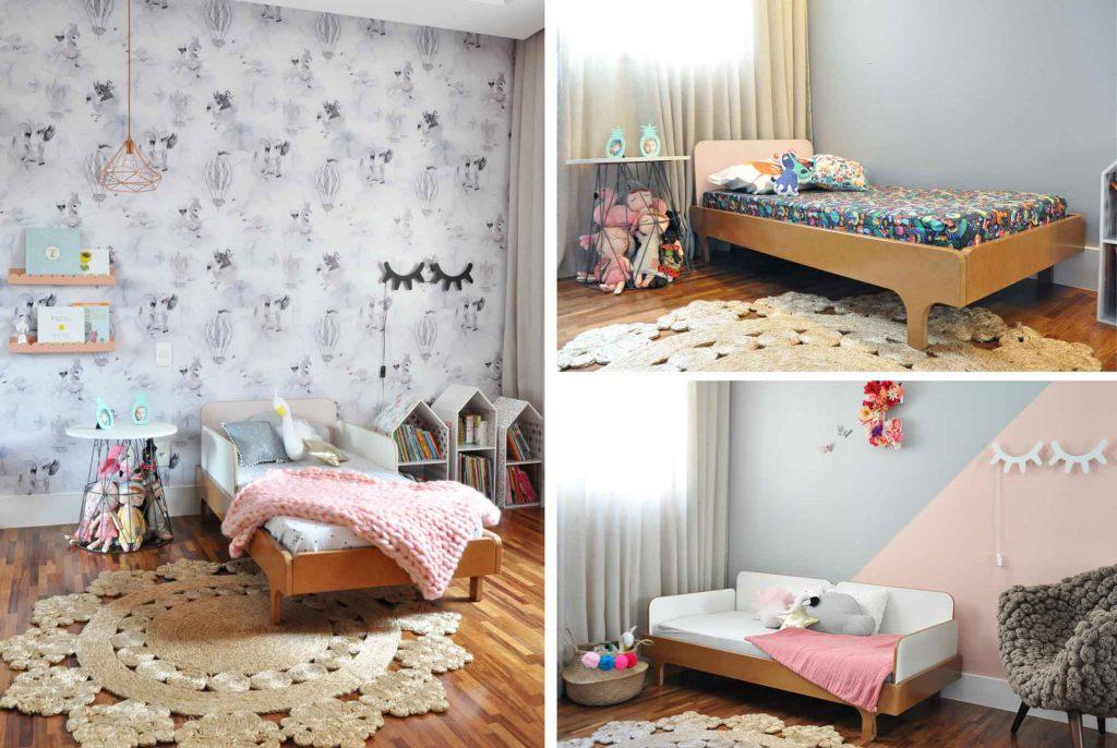 Três imagens ilustrativas: a primeira uma cama com proteção lateral, a segunda sem proteção e a última um sofázinho lindo
