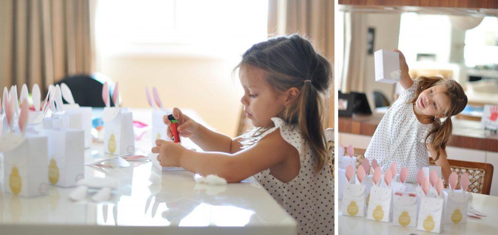Imagem ilustrativa de uma criança fazendo as lembrancinhas de Páscoa.