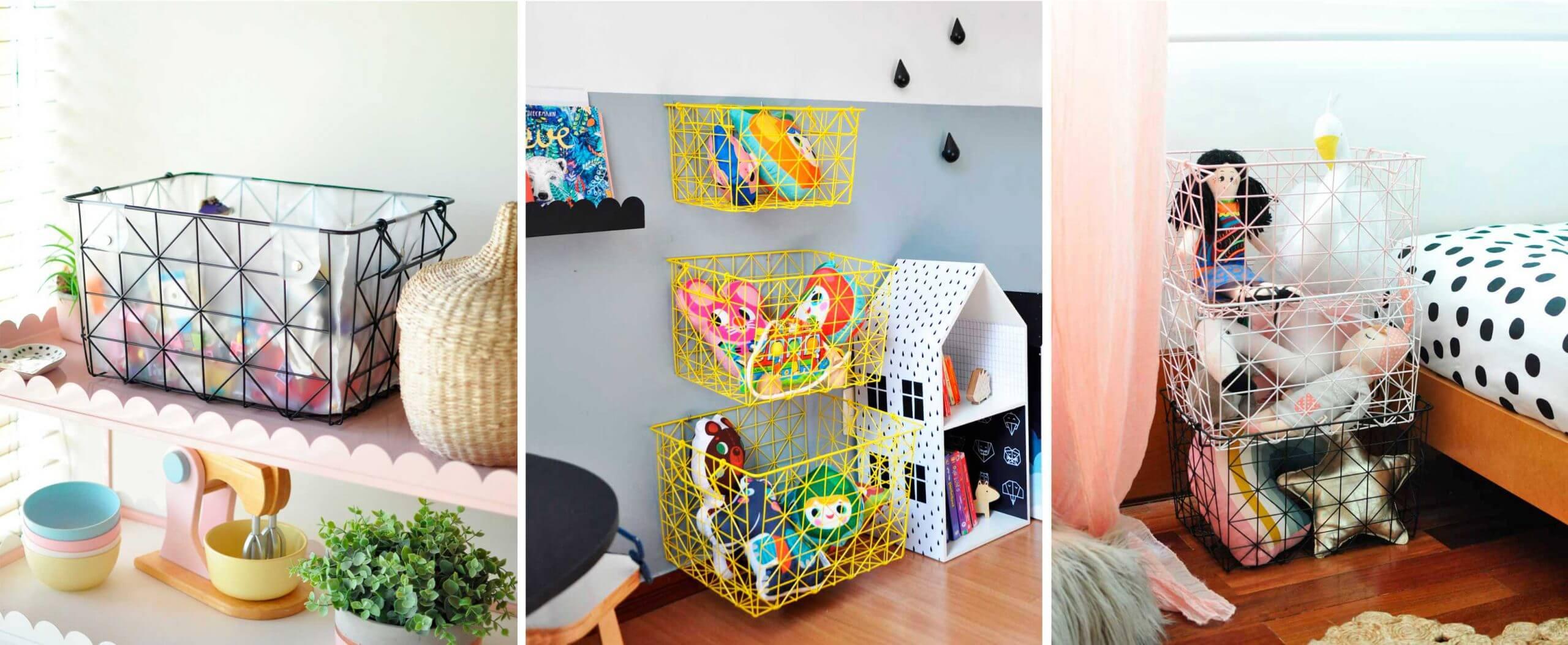Imagem ilustrativa de diferentes maneiras de utilizar a caixa aramada organizadora.