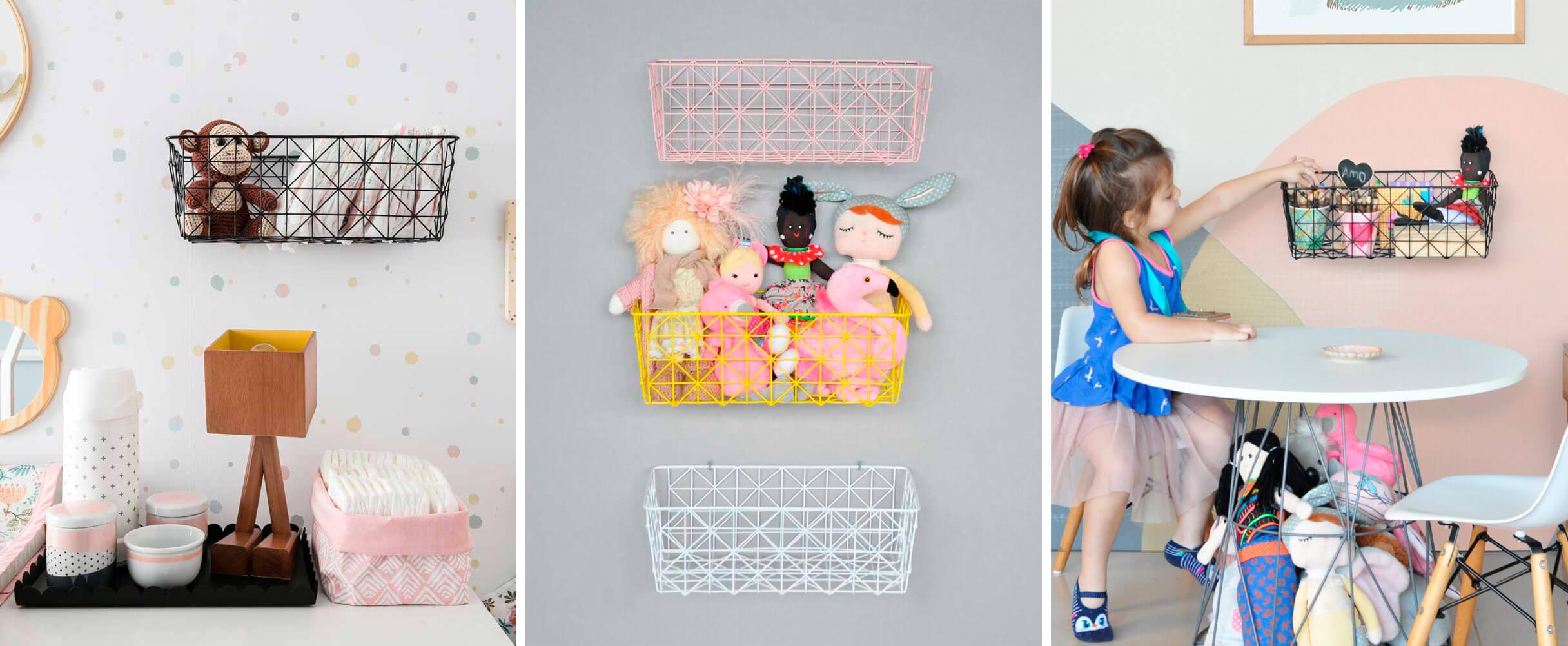 Imagem ilustrativa das prateleiras aramadas, outro produto da Cadô Design que permite expor os brinquedos das crianças como parte da decoração do ambiente.