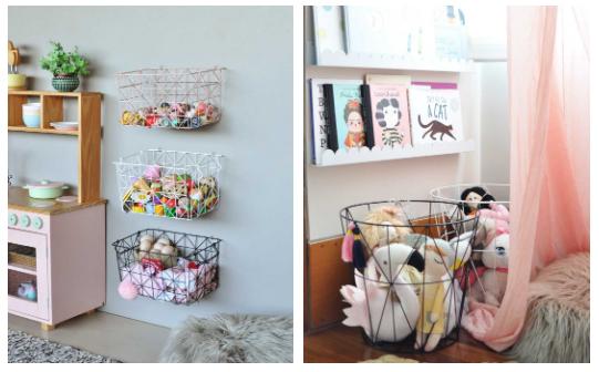 Caixas aramadas e cestos de brinquedos da Cadô Design