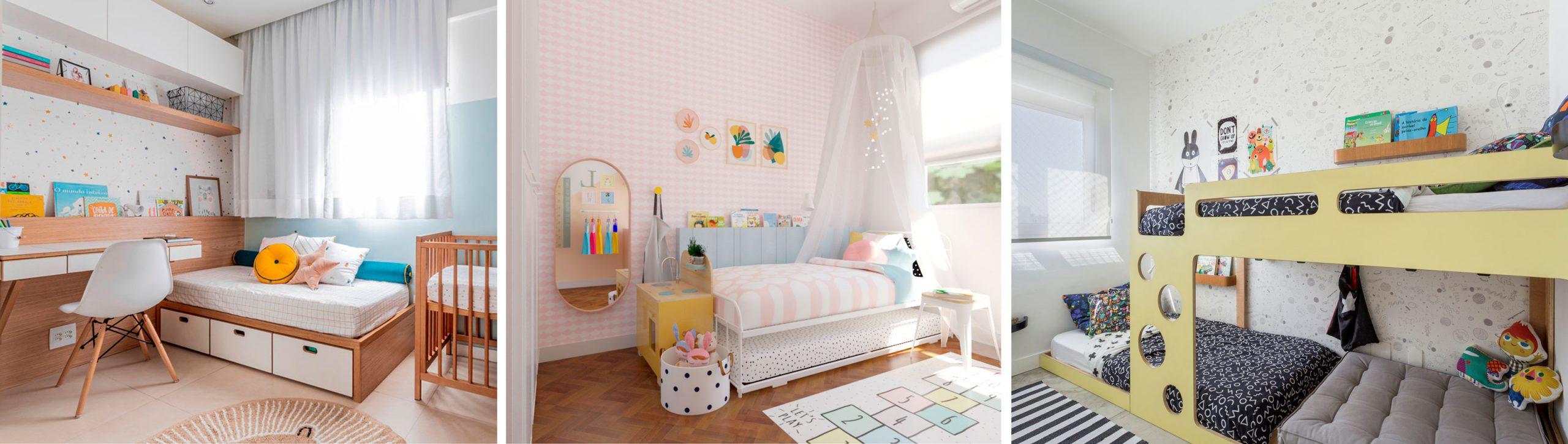 Exemplos de quartos infantis com papel de parede lindos e charmosos atemporais