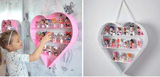 Prateleira coração da Cadô para decorar quarto de menina