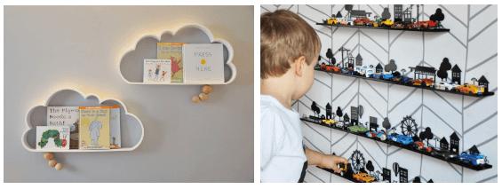 Prateleiras de brinquedo para meninos