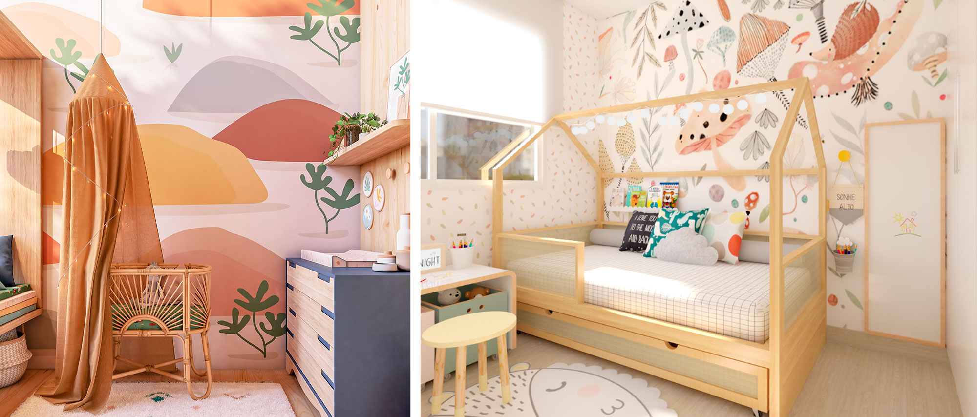 Imagem ilustrativa de quartos com papel de parede infantil com cores vibrantes