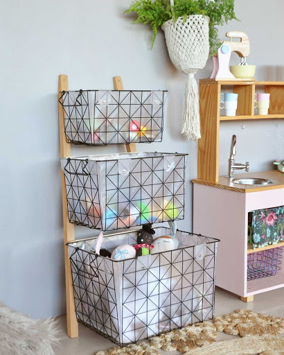 Caixas aramadas organizadoras para quarto infantil feminino