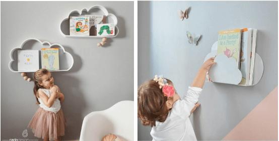 Organizando quarto infantil com porta-livros e prateleiras da Cadô