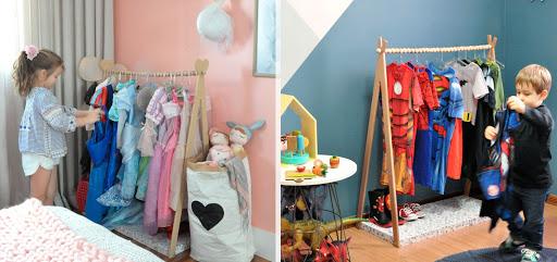 Cabideiro de chão para meninas e meninos
